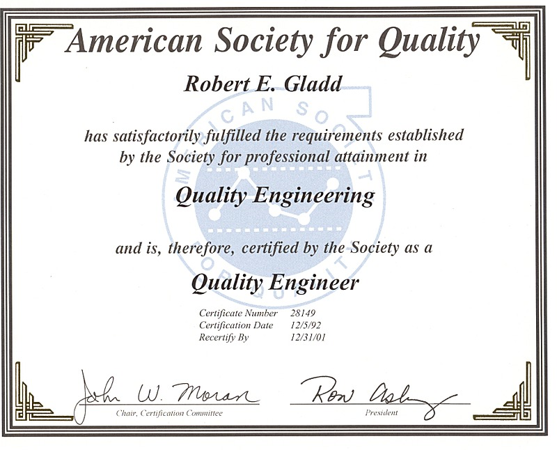 Robert E. Gladd, MA, CQE
